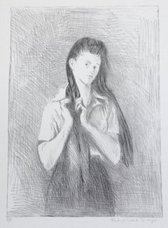 Young Woman With Long Hair, Signed Lithograph, Black and White Female Portrait