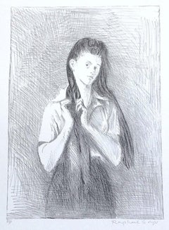 YOUNG WOMAN WITH LONG HAIR Signed Lithograph Female Portrait Sideways Glance
