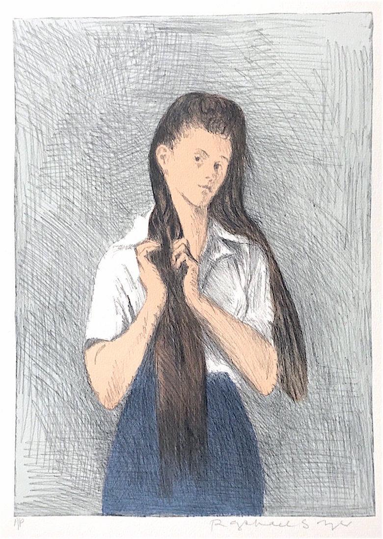 Young Woman With Long Hair, Signed Original Lithograph, Social Realism
