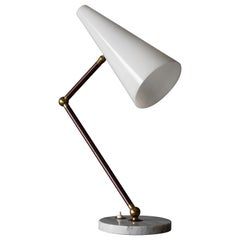 Raptek Milano, Desk Light, Acrylic, Lacquered Metal, Brass Carrara Marble, 1950s