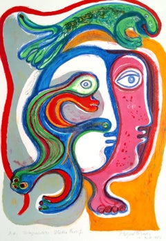 INTEGRACION, Signed Lithograph, Expressionist Space Age Portrait, Latin American