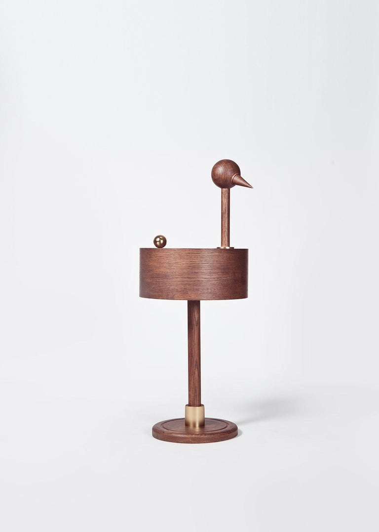 Rara Avis XL side table by Editiio Limited edition of 24 pieces, numbered Materials: french oak and 24K gold plated steel Dimensions: D 38 x H 95 cm  Rara Avis is the result of a dialogue between art and design. Miquel Aparici and Mermelada