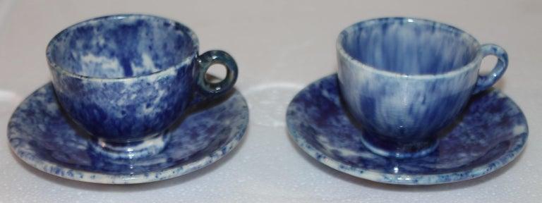 Rare 12 Pcs. Sponge Ware Child's Tea Set For Sale 5