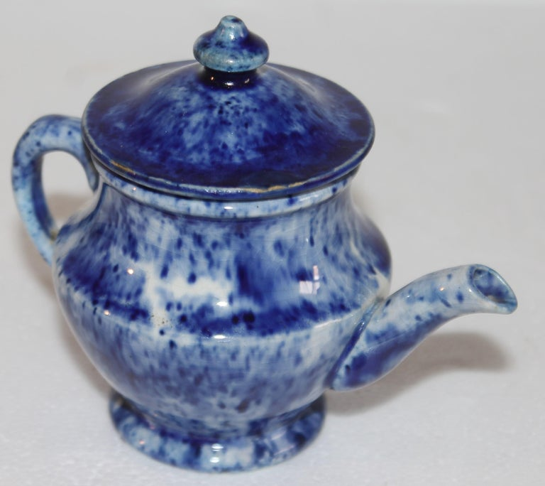 American Rare 12 Pcs. Sponge Ware Child's Tea Set For Sale