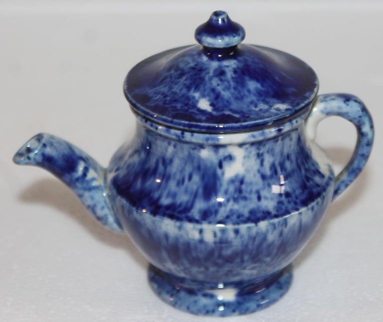 Hand-Crafted Rare 12 Pcs. Sponge Ware Child's Tea Set For Sale