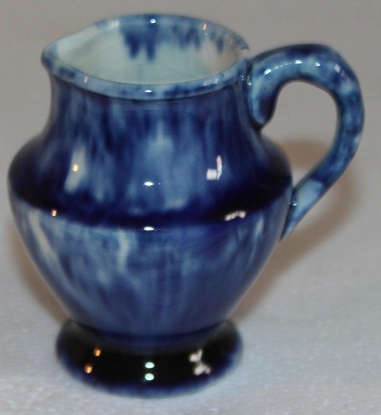 19th Century Rare 12 Pcs. Sponge Ware Child's Tea Set For Sale
