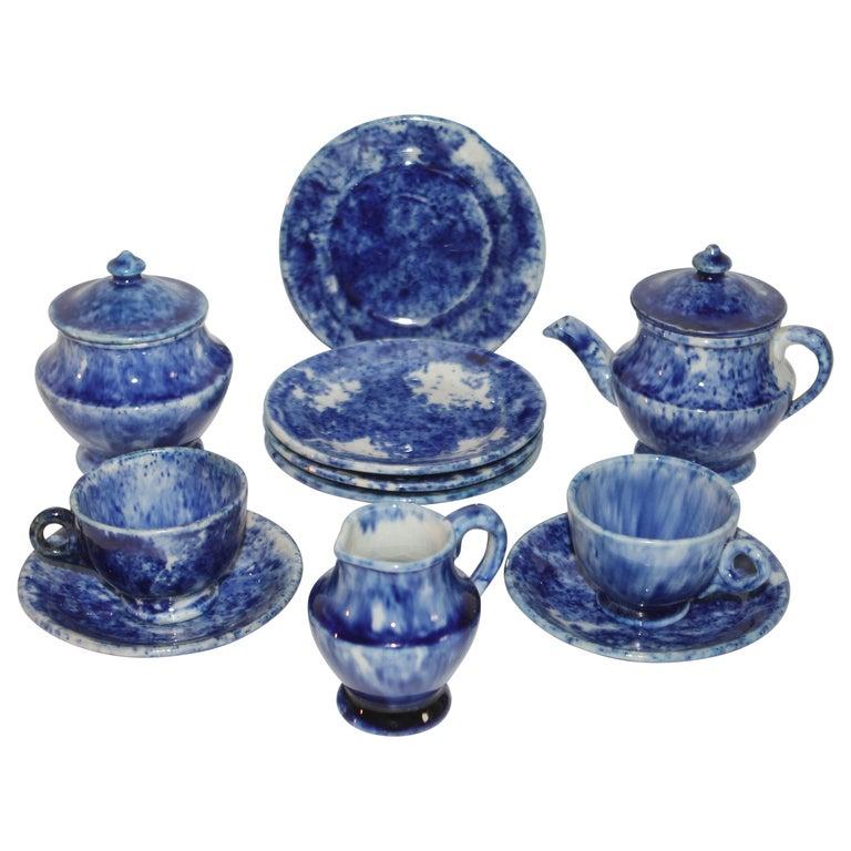 Rare 12 Pcs. Sponge Ware Child's Tea Set For Sale