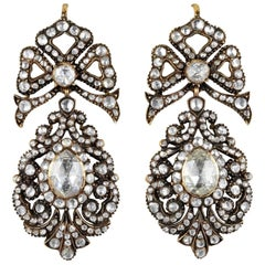 Rare 12.00 Carat Diamond Antique Pendeloque Earrings