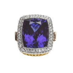 Rare 15.81 Carat Tanzanite Diamond Platinum 18 Karat Yellow Gold Ring