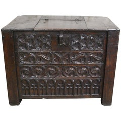Rare 15th Century Solid Oak Medieval Dutch Gothic Chest or Trunk