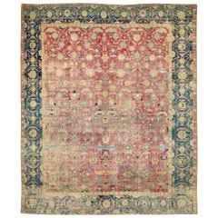 Rare 17 Century Mughal Period Persian Isfahan Large Room Size Carpet
