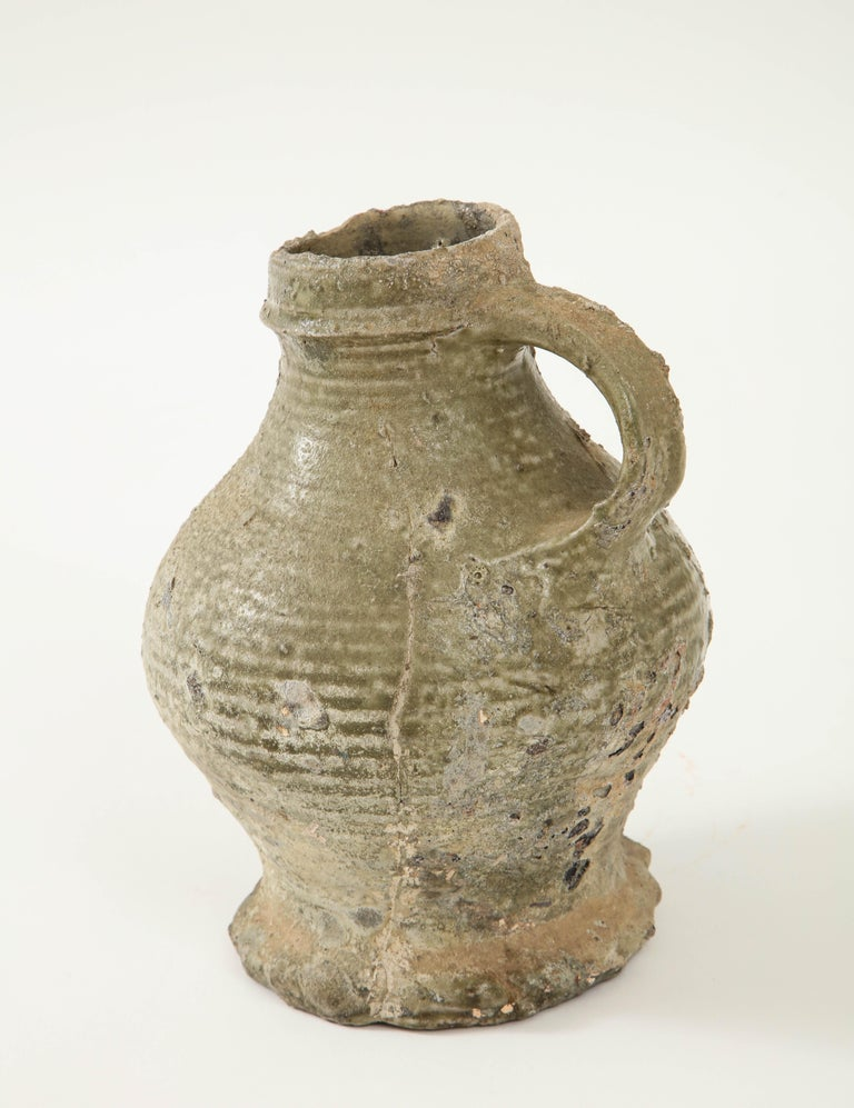 17th Century German Low Countries Grey Ceramic Pitcher For Sale 5