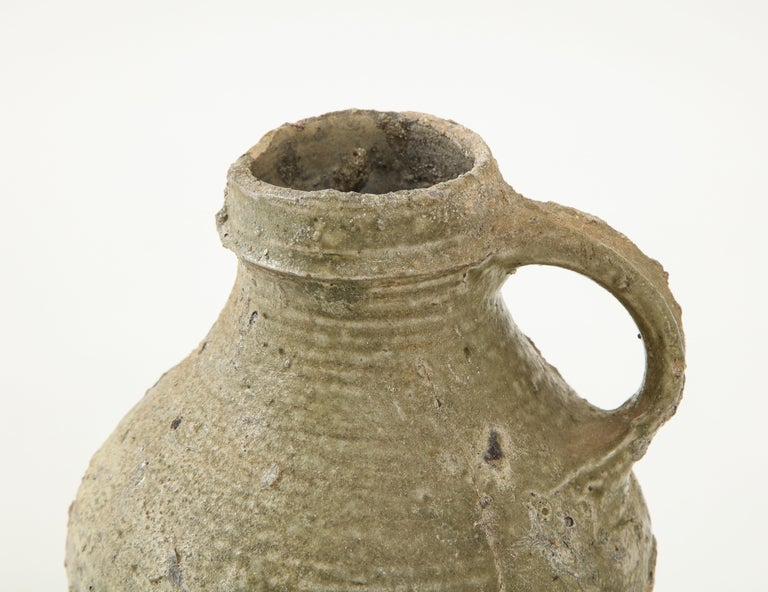 Medieval 17th Century German Low Countries Grey Ceramic Pitcher For Sale