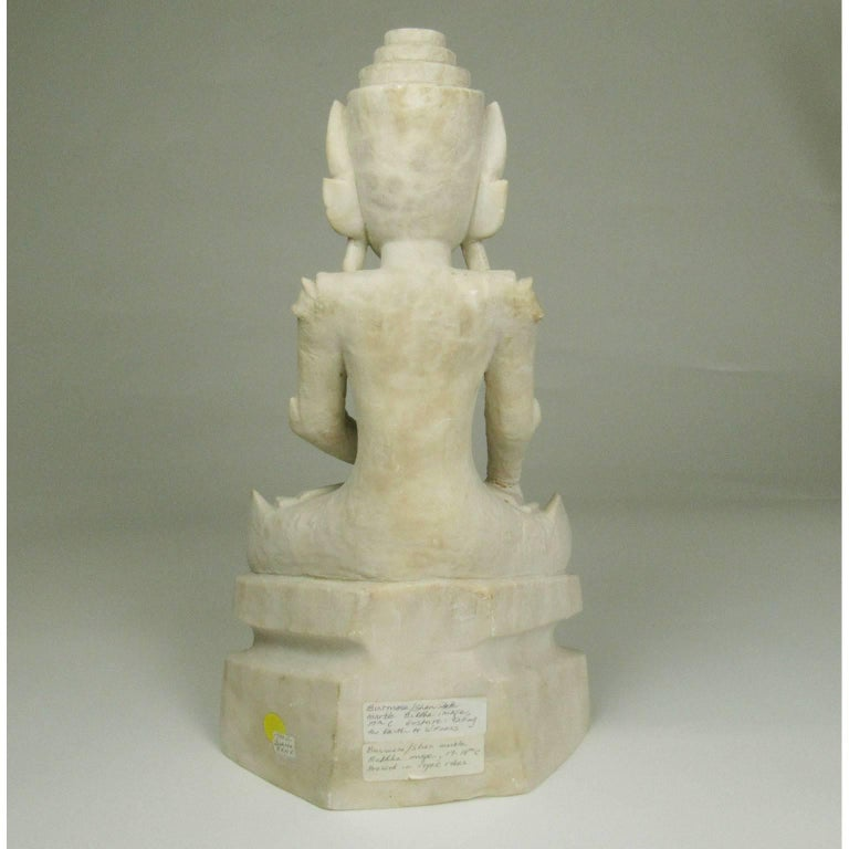 Hand-Carved Rare 17th Century Burmese Shan Carved Marble Buddha For Sale