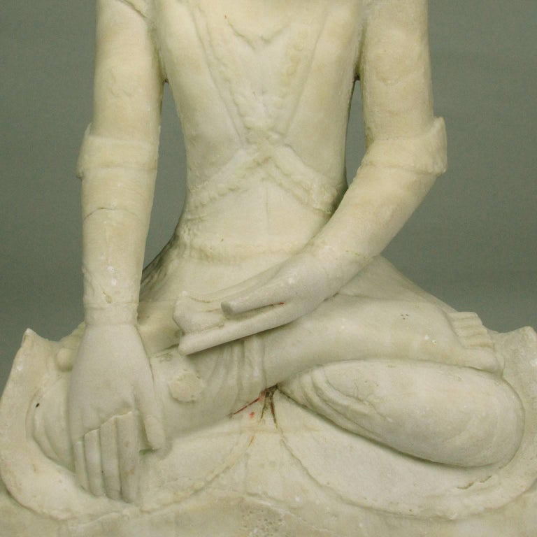 18th Century and Earlier Rare 17th Century Burmese Shan Carved Marble Buddha For Sale