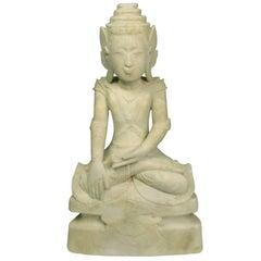 Rare 17th Century Burmese Shan Carved Marble Buddha