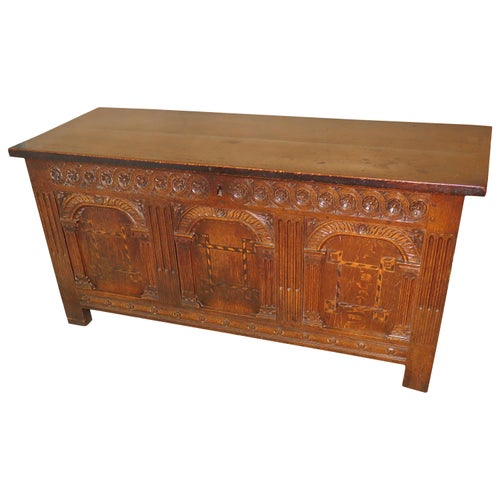 Rare 17th Century Charles 1 Period English Oak Coffer