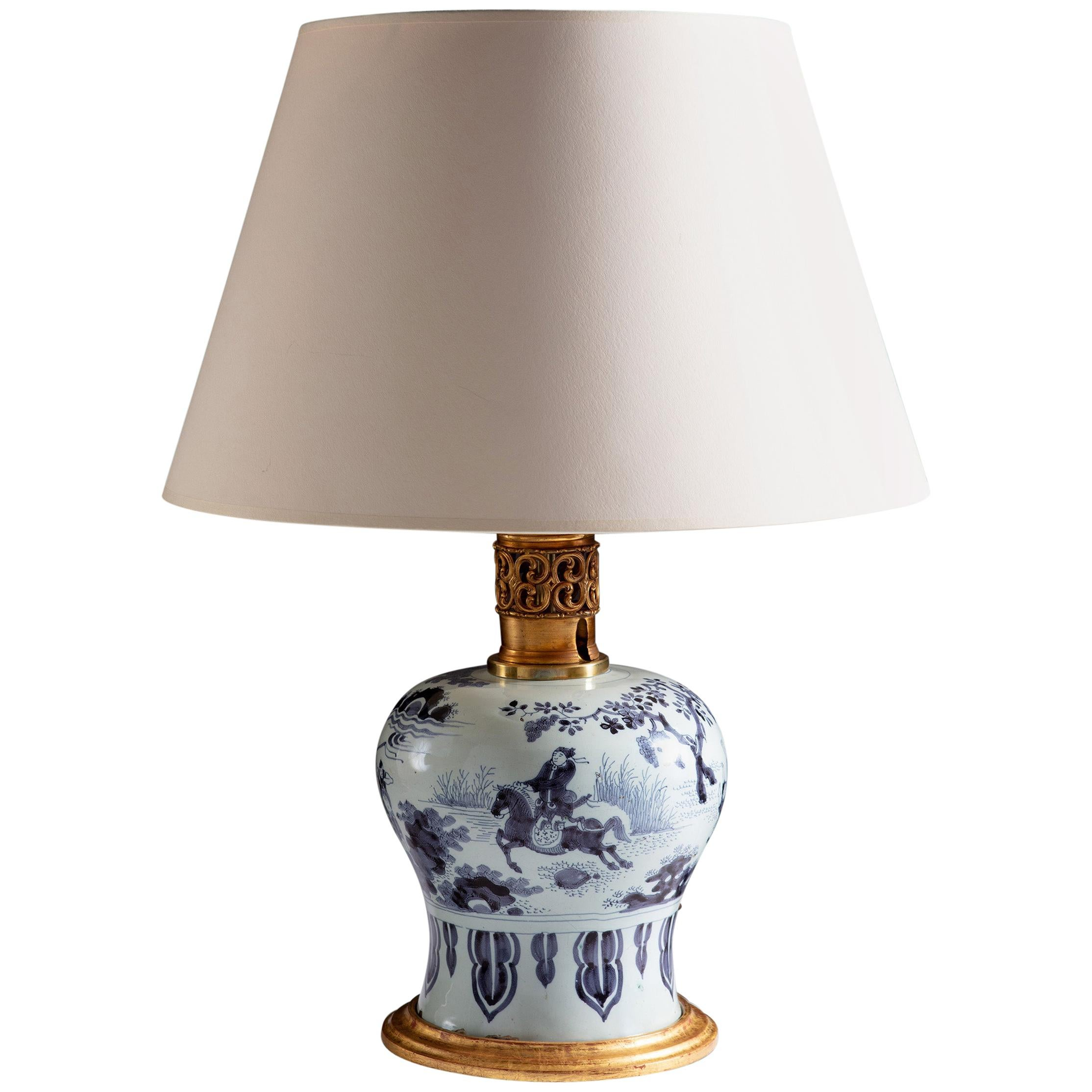 Rare 17th Century Delft Vase as a Table Lamp with Giltwood Base