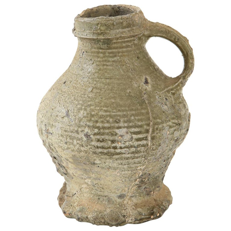 17th Century German Low Countries Grey Ceramic Pitcher For Sale