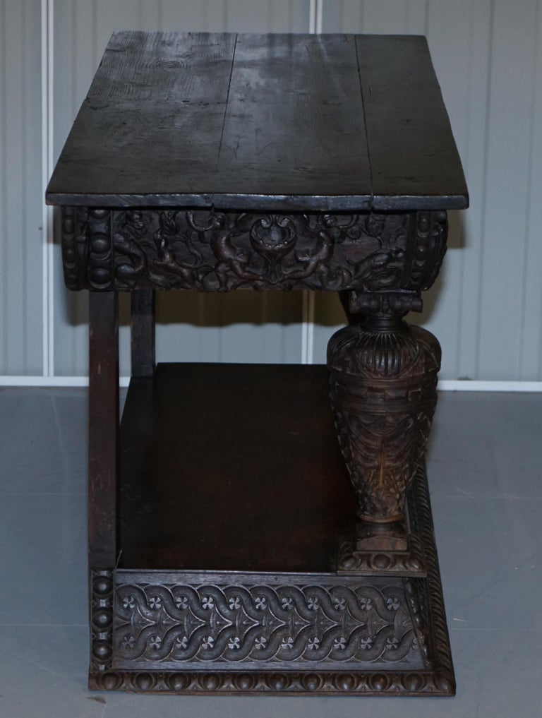 Rare 17th Century Hand Carved Oak Italian Console Serving Table Cherubs Angels For Sale 9