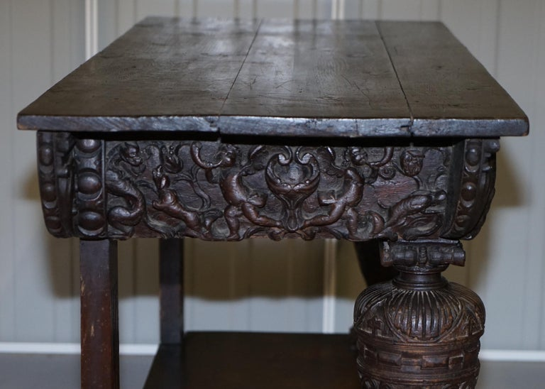 Rare 17th Century Hand Carved Oak Italian Console Serving Table Cherubs Angels For Sale 10