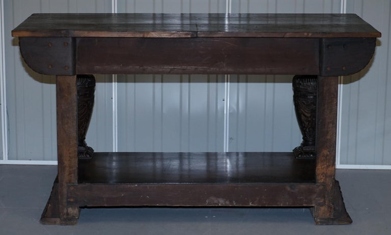 Rare 17th Century Hand Carved Oak Italian Console Serving Table Cherubs Angels For Sale 12