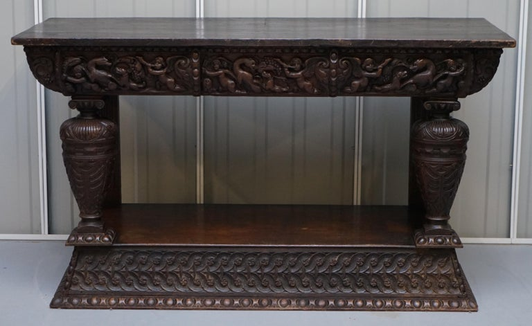 We are delighted to offer for sale this stunning and very rare 17th century hand carved Italian console or serving table