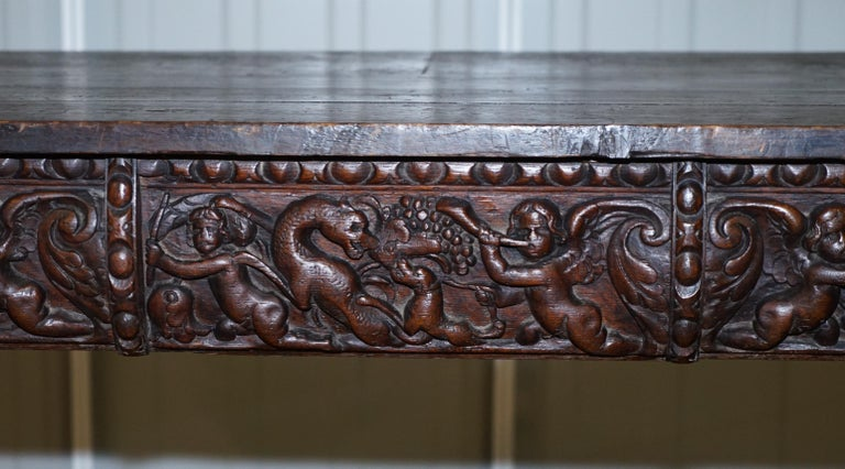 Rare 17th Century Hand Carved Oak Italian Console Serving Table Cherubs Angels For Sale 1