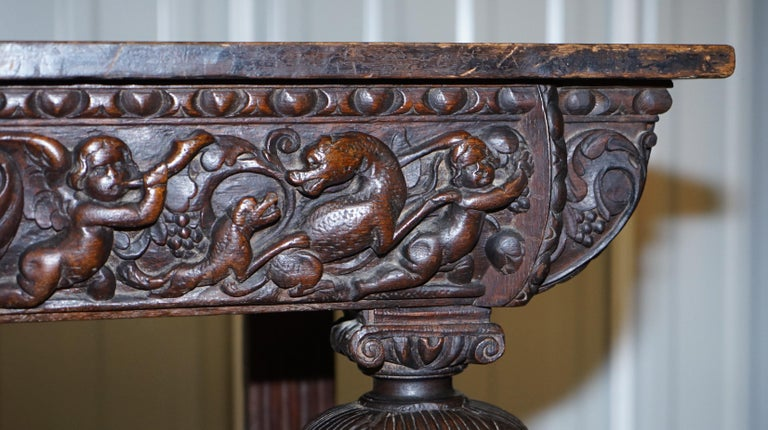 Rare 17th Century Hand Carved Oak Italian Console Serving Table Cherubs Angels For Sale 3