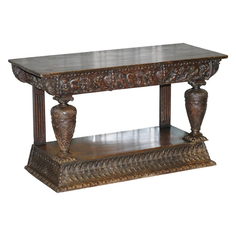 Rare 17th Century Hand Carved Oak Italian Console Serving Table Cherubs Angels For Sale