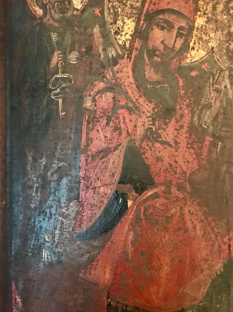 Hand-Painted Rare 17th Century Russian Orthodox Icon For Sale