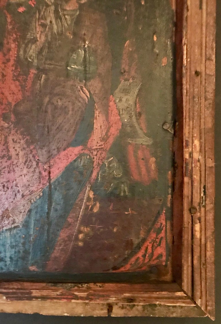 Wood Rare 17th Century Russian Orthodox Icon For Sale