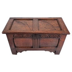 Rare 17th Century Small Oak Two-Panel Coffer with Original Carved Decoration