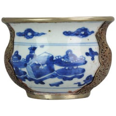 Rare 17th Century Transitional Early Kangxi Chinese Porcelain China Bowl Flowers