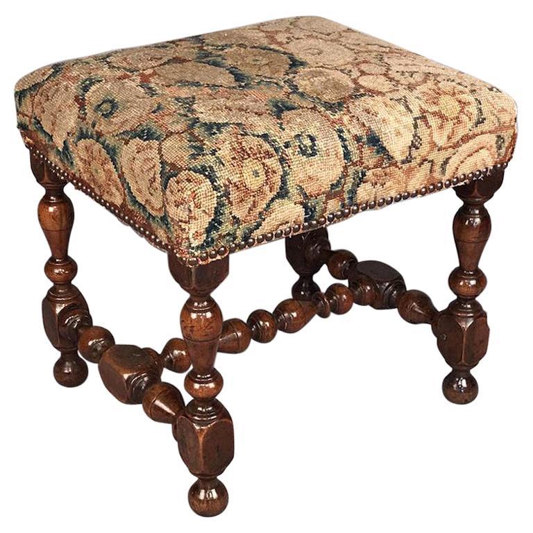 Rare 17th Century Walnut Stool For Sale