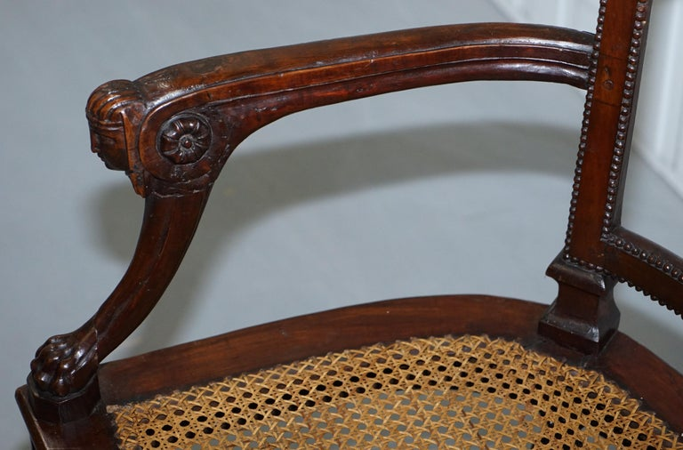 Rare 1810 Napoleon Banaparte French Empire Fruitwood Fauteuil Armchair Must See For Sale 4