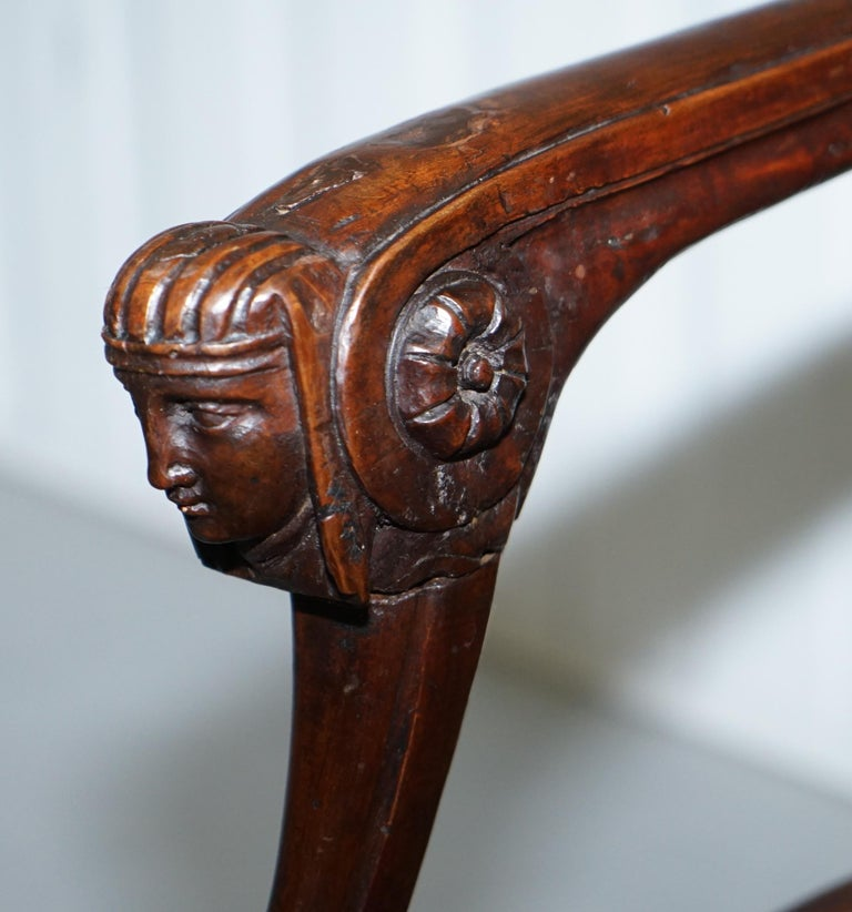 Rare 1810 Napoleon Banaparte French Empire Fruitwood Fauteuil Armchair Must See For Sale 5