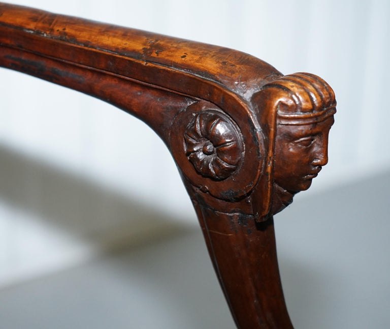 Rare 1810 Napoleon Banaparte French Empire Fruitwood Fauteuil Armchair Must See For Sale 7