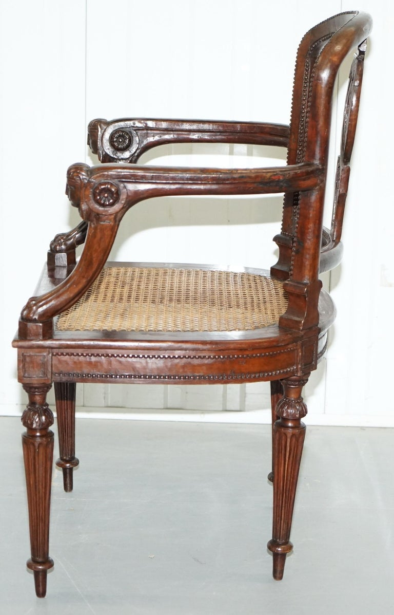 Rare 1810 Napoleon Banaparte French Empire Fruitwood Fauteuil Armchair Must See For Sale 13