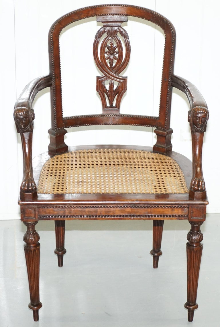 We are delighted to offer for sale original 1810 Napoleon Bonaparte French Fauteuil armchair made from solid fruitwood  Where to begin, this is one of the most stunning armchairs I have ever seen, the detail of the carving is simply sublime