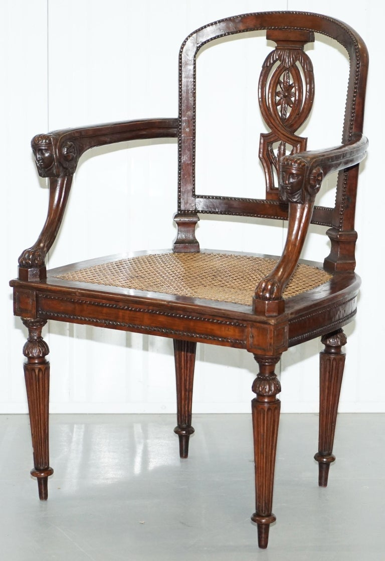 Napoleon III Rare 1810 Napoleon Banaparte French Empire Fruitwood Fauteuil Armchair Must See For Sale