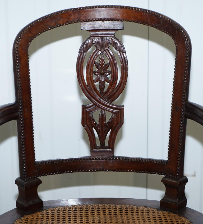 Hand-Carved Rare 1810 Napoleon Banaparte French Empire Fruitwood Fauteuil Armchair Must See For Sale