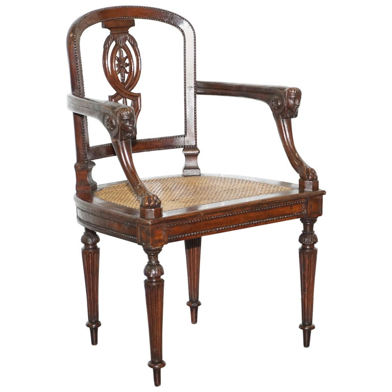 Rare 1810 Napoleon Banaparte French Empire Fruitwood Fauteuil Armchair Must See For Sale