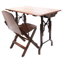 Rare 1870's Vintage Industrial Utility Adjustable Table Desk by Lambie & Sargent