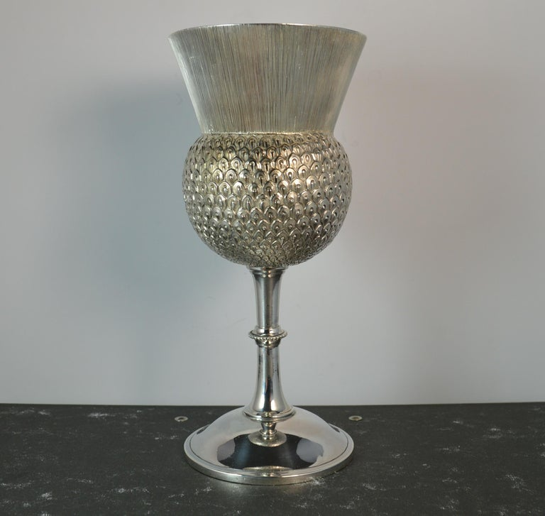 A fine novelty piece of mid Victorian silver. English made in the form of a thistle.  Ideal drinking vessel or goblet.  Hallmarks ; lion, Birmingham assay, date letter x and makers initials Weight ; 170 grams Size ; 17.4cm tall, 72mm diameter