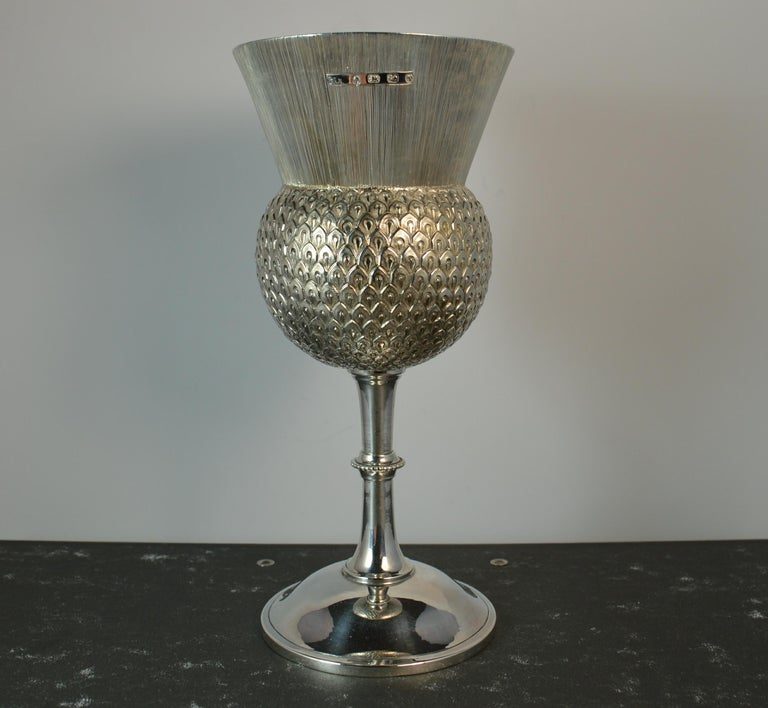 Rare 1872 Victorian Solid Silver Thistle Shaped Drinking Vessel Goblet Chalice In Good Condition For Sale In St Helens, GB
