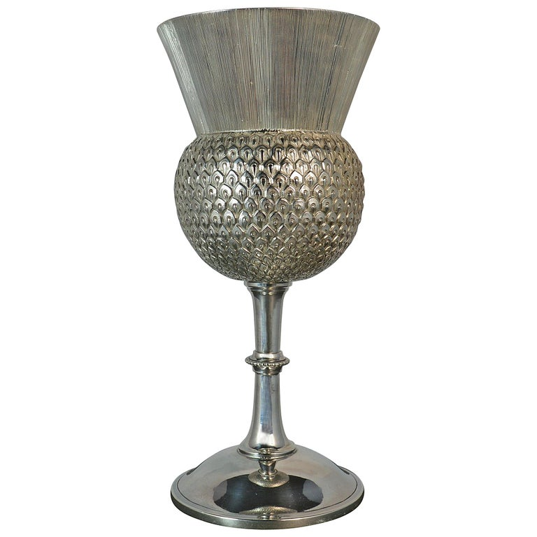 Rare 1872 Victorian Solid Silver Thistle Shaped Drinking Vessel Goblet Chalice For Sale
