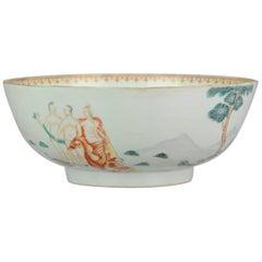 "Rare 18C Antique Chinese ""Paris Judgement"" Bowl Qing Chine de Commande"