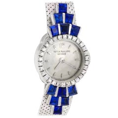 Rare 18kt 1950s-1960s Patek Philippe Sapphire & Round Diamond Set Bracelet Watch