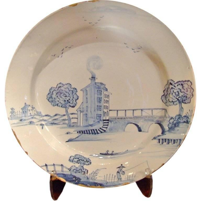 Rare 18th c. English Delft Charger Depicting a Tower House For Sale